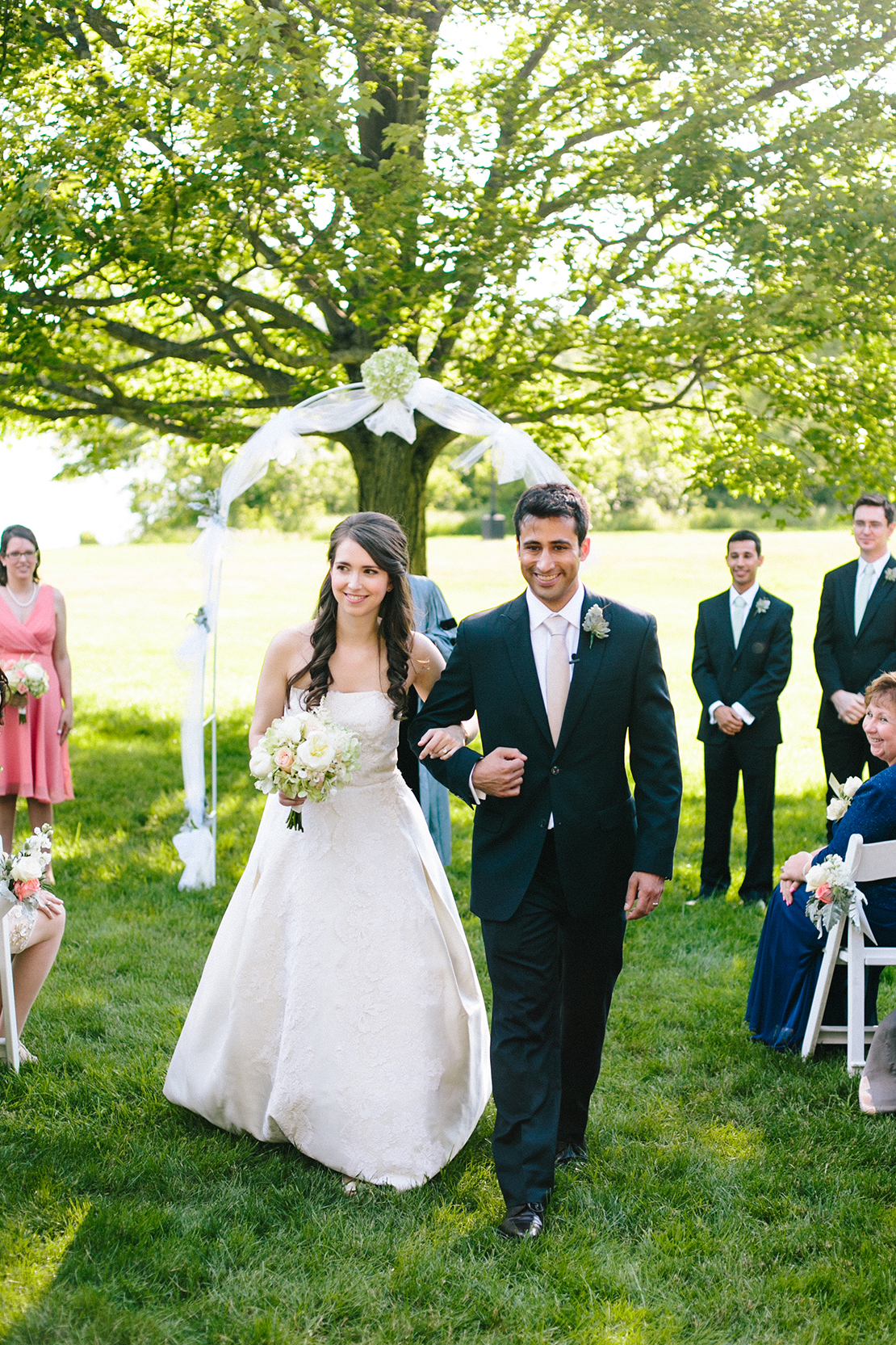32_bride_groom_walk_down_aisle_just_married_outdoor_wellesley_college_wedding