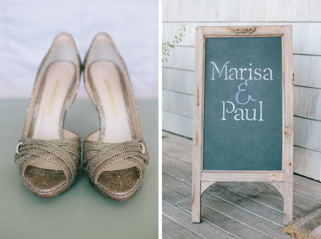 01_Silver_wedding_shoes_chalkboard_sign_purple_cape_cod_photography