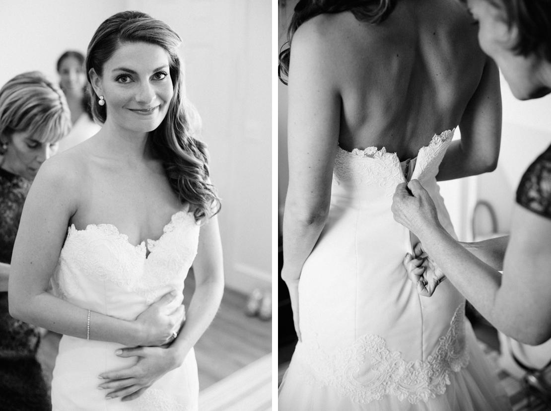 03_Wychmere_beach_club_wedding_putting_on_bridal_gown_b&w