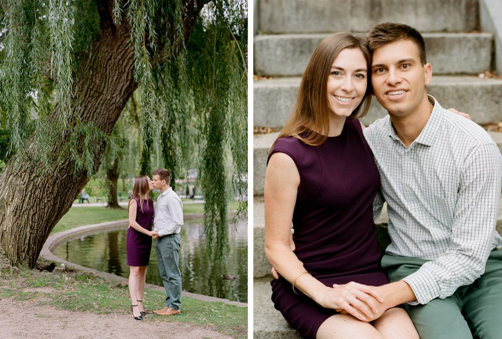 Boston Public Garden Engagement Session Willow Trees | Heidi Vail Photography | Destination Wedding Photographer