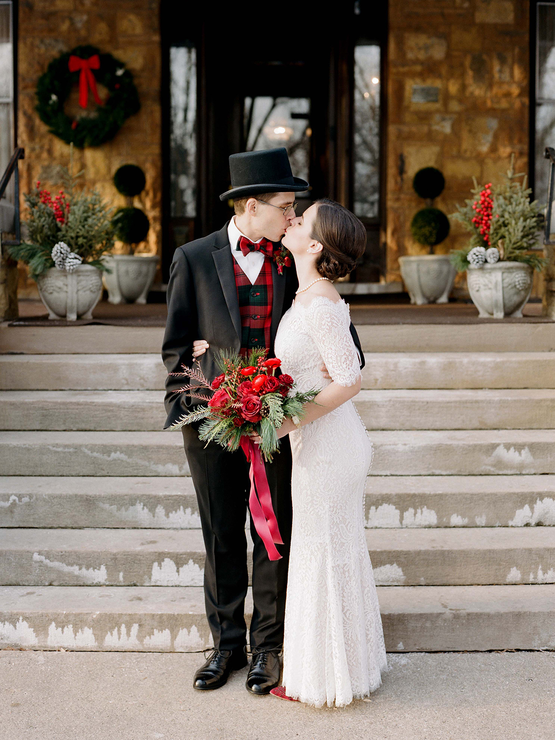 Heidi Vail Photography | Winter Wedding Kiss at Summit Manor Reception House, Saint Paul, Minnesota | Destination Fine Art Wedding Photographer | Based in Orlando, Florida